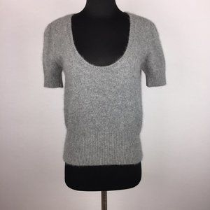 Zara Knit L Angora Nylon Wool Scoop Neck Sweater